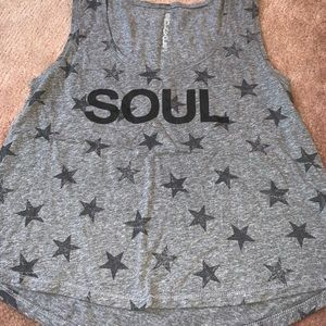 SoulCycle cropped tank with stars
